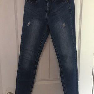 Raw hem denim jeans